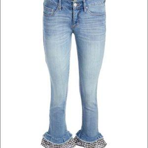 🌺 Vintage America Blues Jeans Gingham Ruffle 🌺
